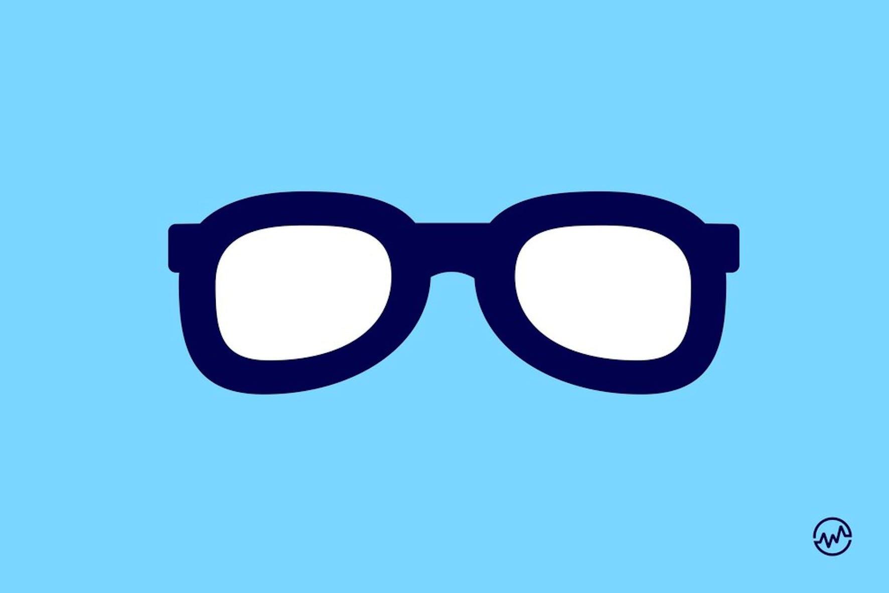 Blue eyeglasses on a blue background