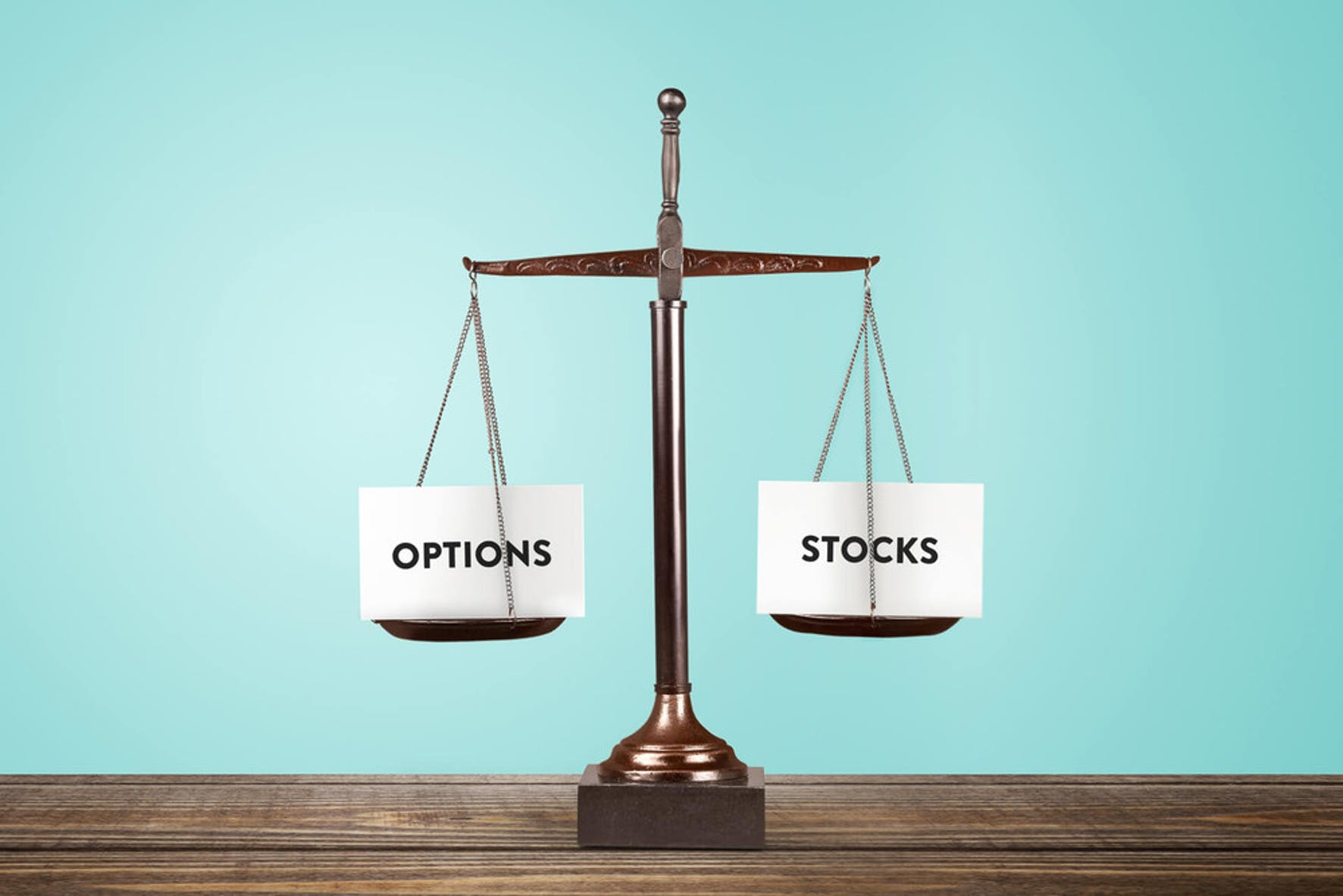 options vs stocks weighted on a scale