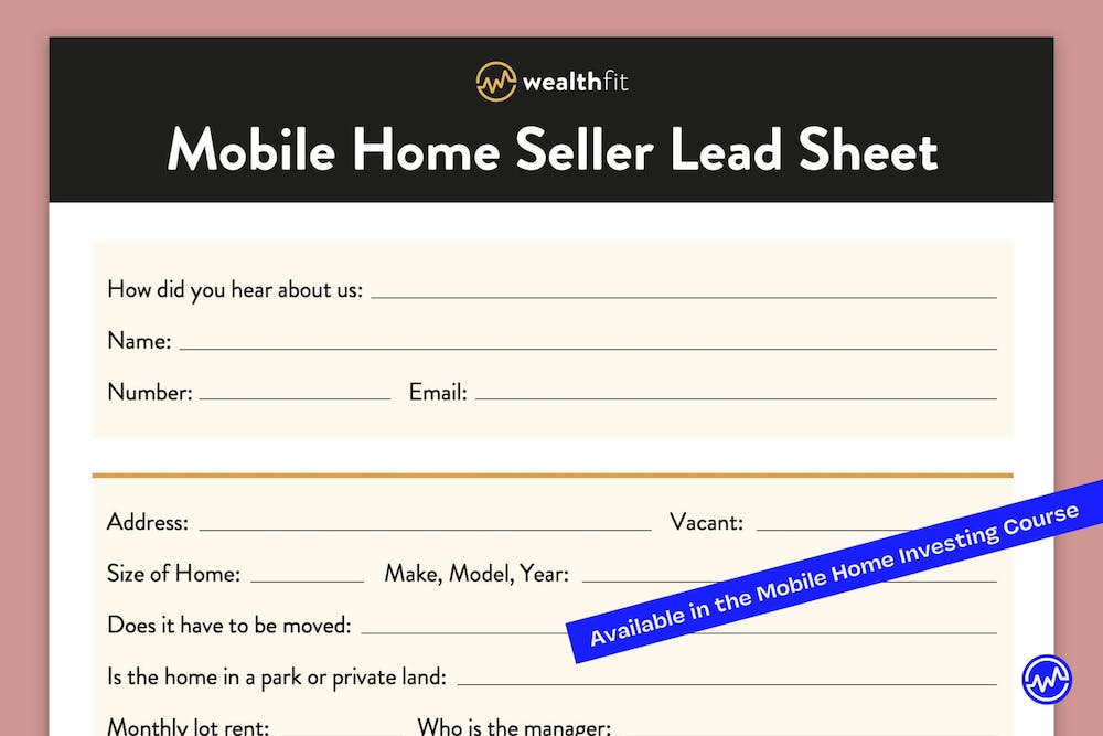 Mobile Home Seller Lead Sheet Template for mobile home investing
