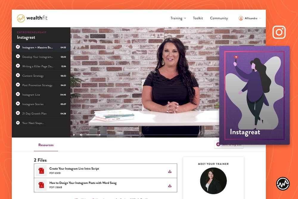 """Kim Walsh teaches how to monetize Instagram in her 8 part course """"Instagreat: How To Launch a Buzzworthy Business Brand on Instagram"""" on WealthFit.com"""