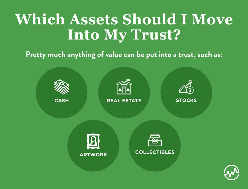 Setting up a trust requires putting anything of value in it, such as cash, real estate, stocks, artwork and collectibles.