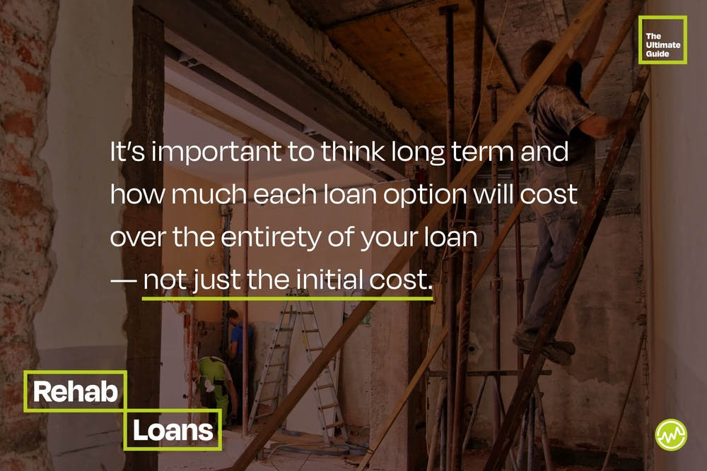 It's important to think long term and how much each loan option will cost over the entirety of your loan — not just the initial cost.