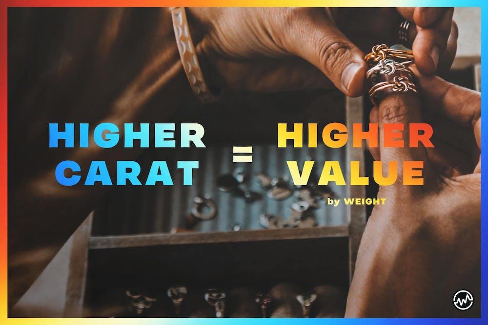 Higher carat = higher value