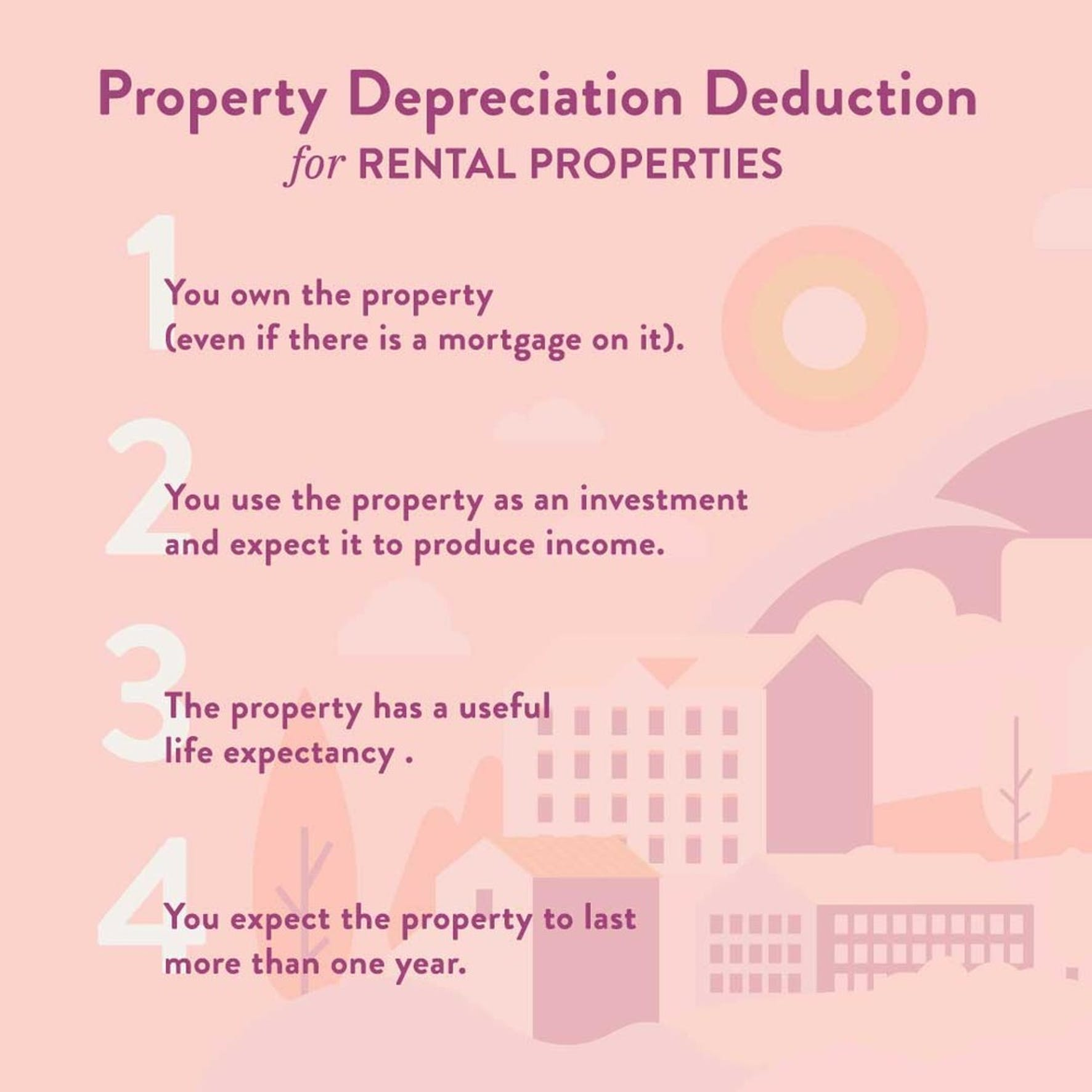 Property depreciation deduction for rental properties