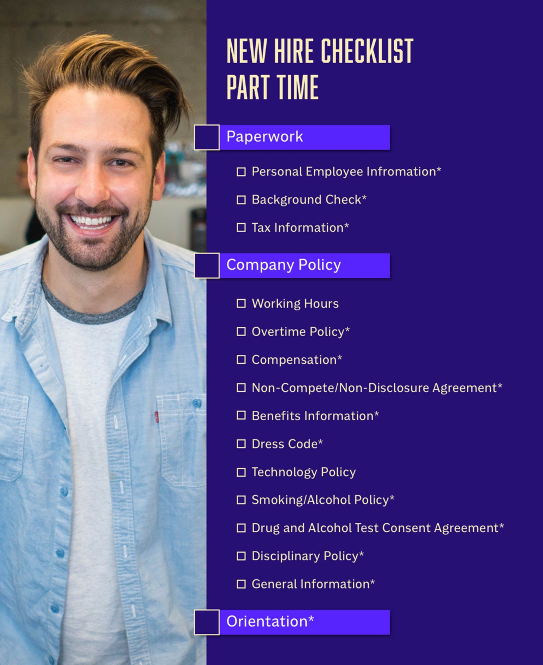 New Hire Checklist for Part Time Employees