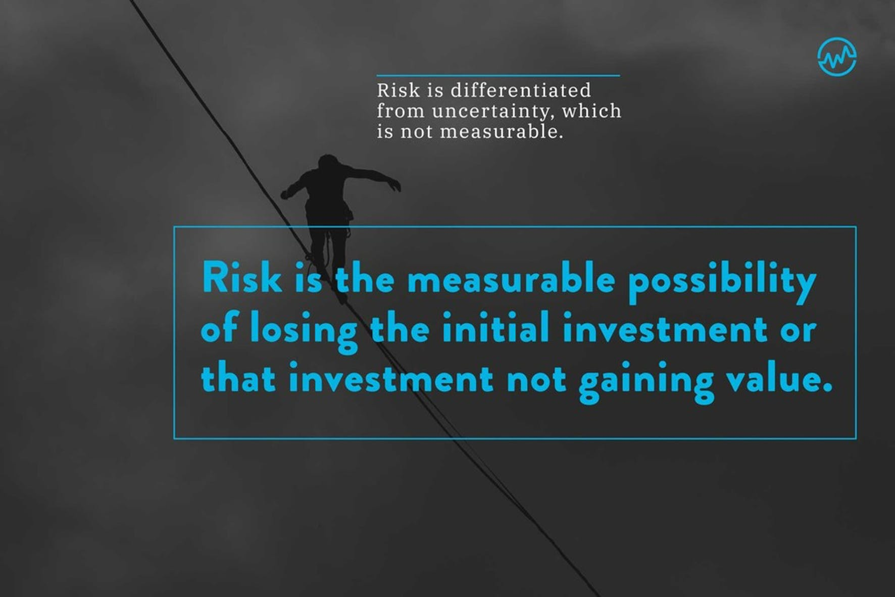 The definition of risk and a person walking on a tightrope