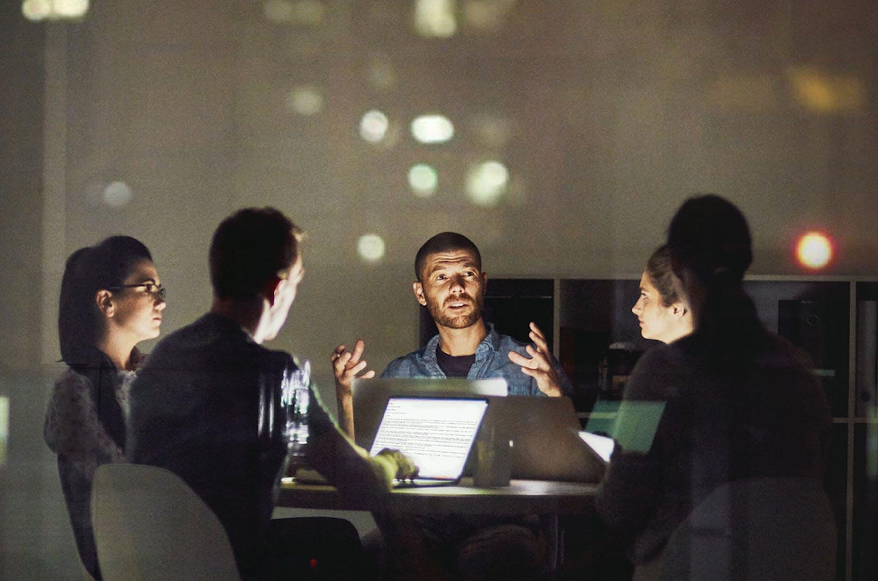 Team creating inspiring vision to start company.