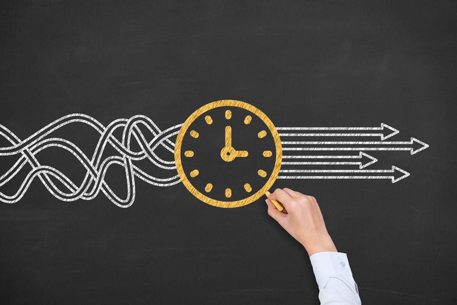 Drawing a clock to demonstrate the value of time management