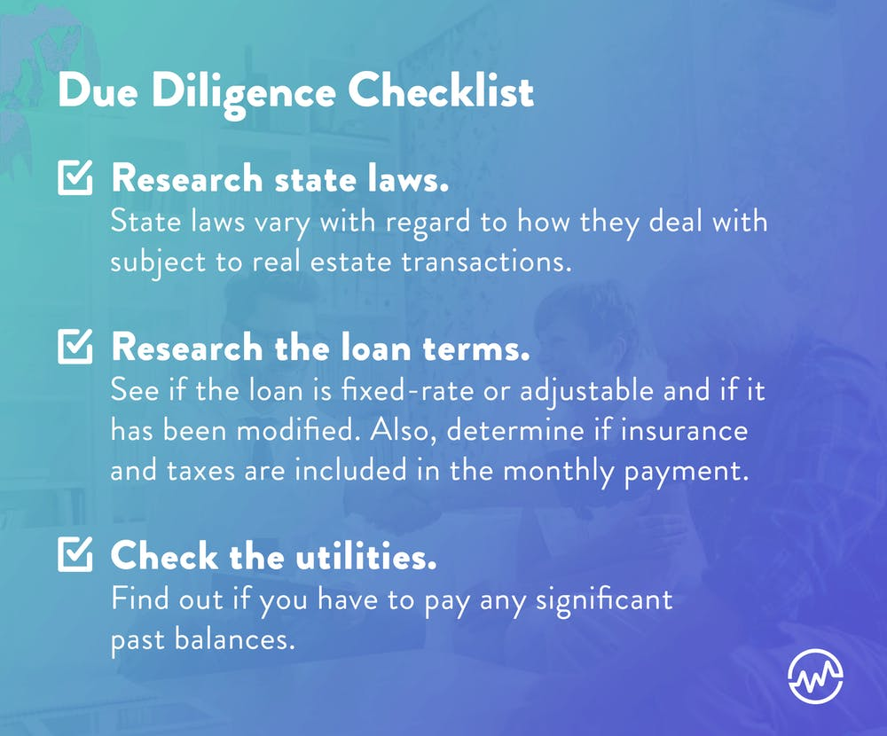 Due diligence checklist when offering a subject to real estate deal