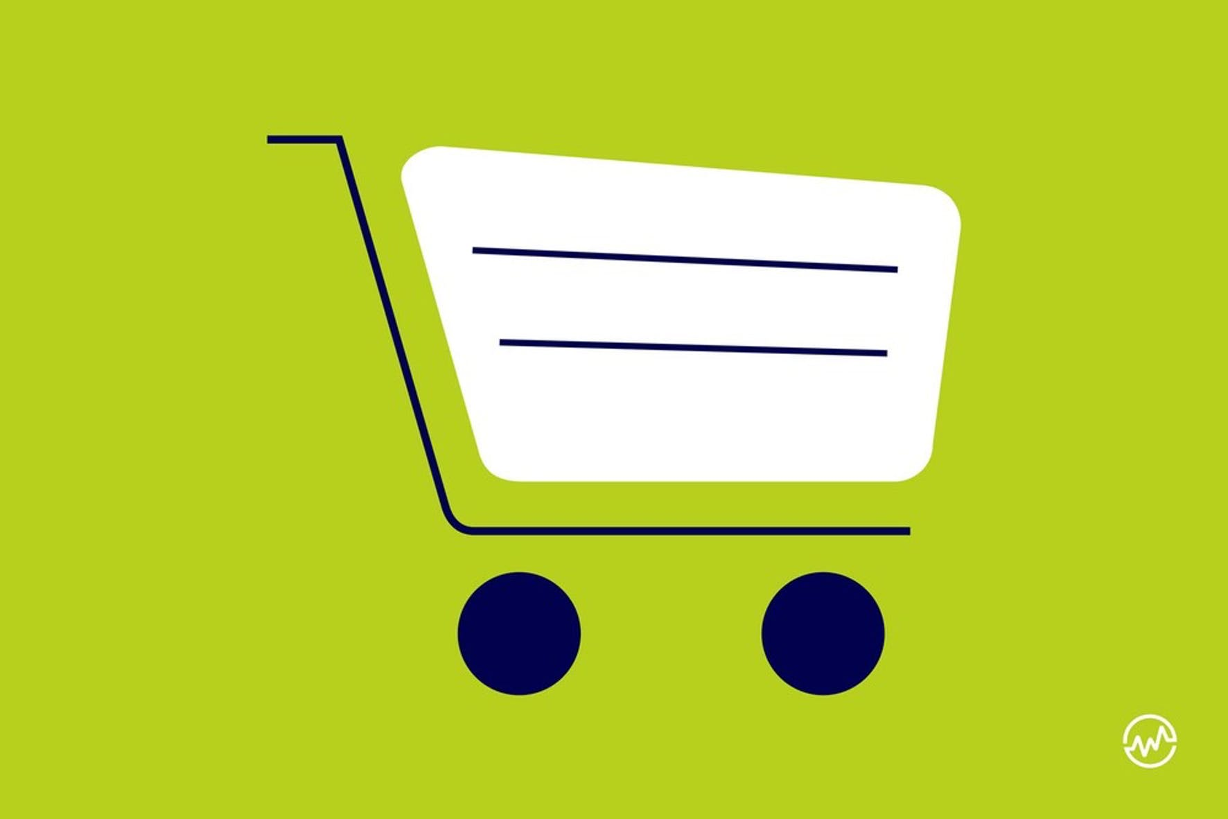 An outline of a shopping cart on a green background