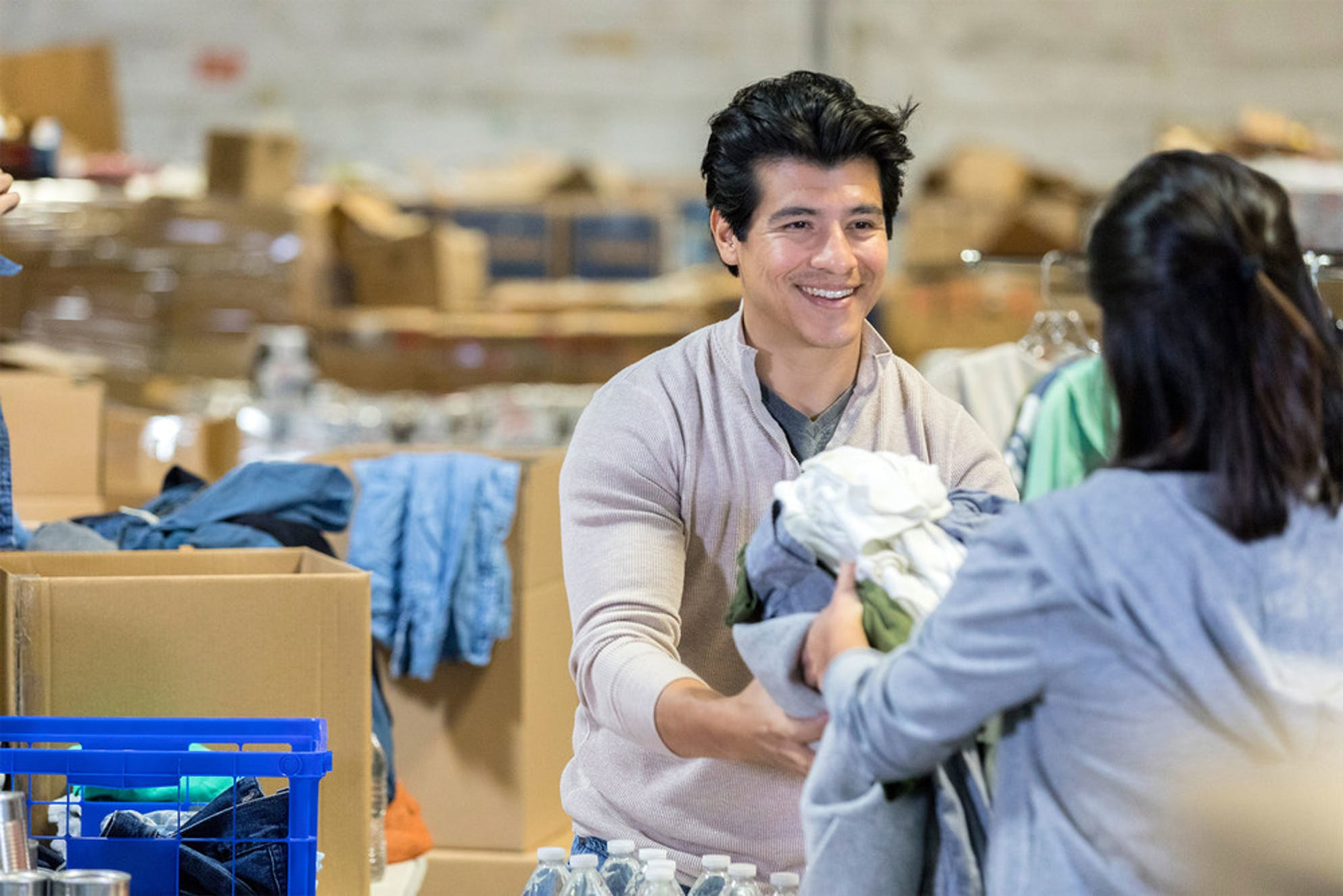 What to do with a tax refund: a man making a charitable contribution