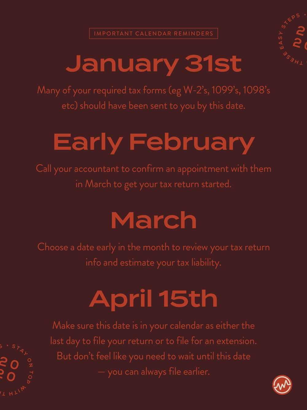 Important tax dates to remember