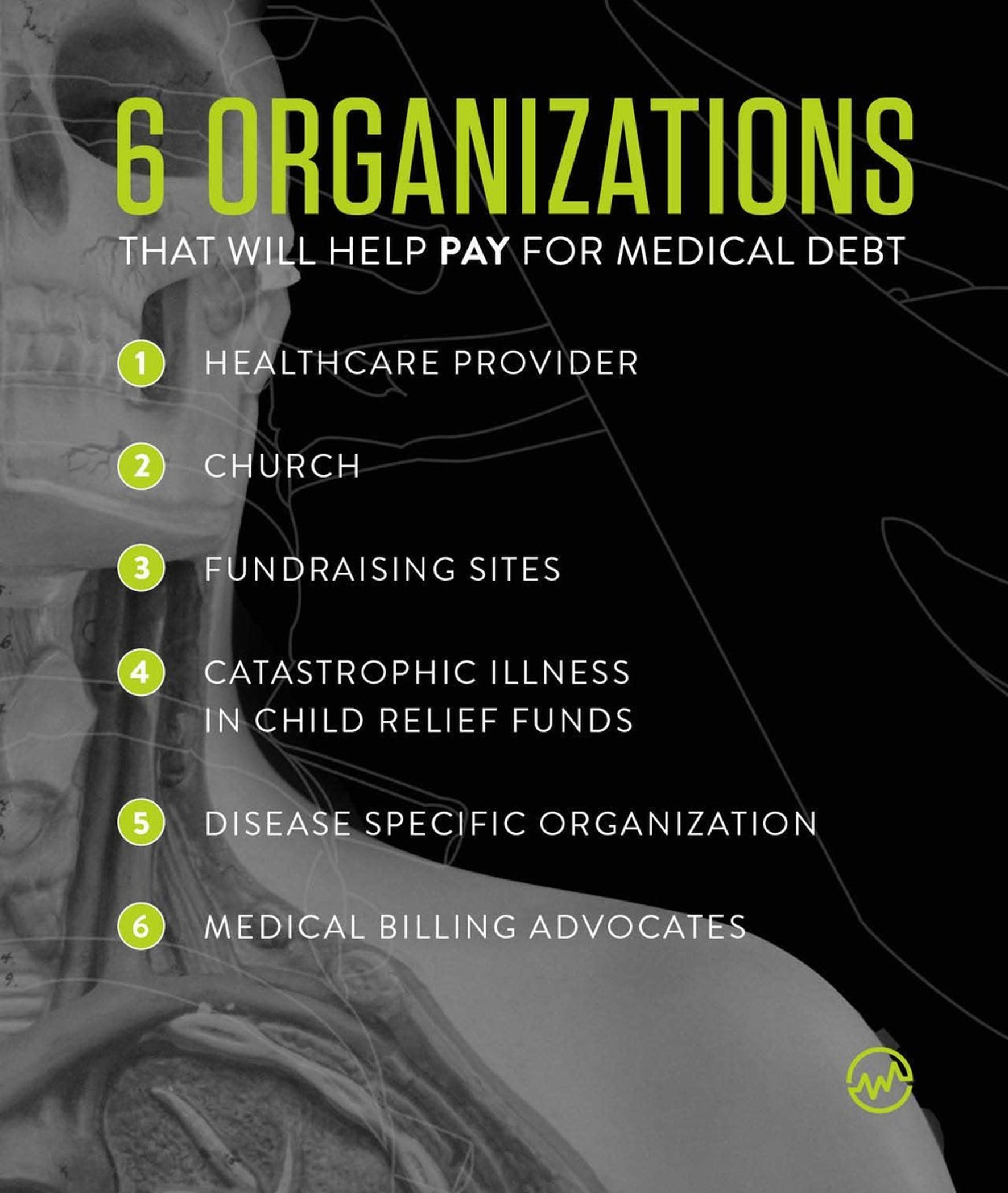 6 organizations that help pay medical bills: an X ray image of a patient's head, chest and shoulder