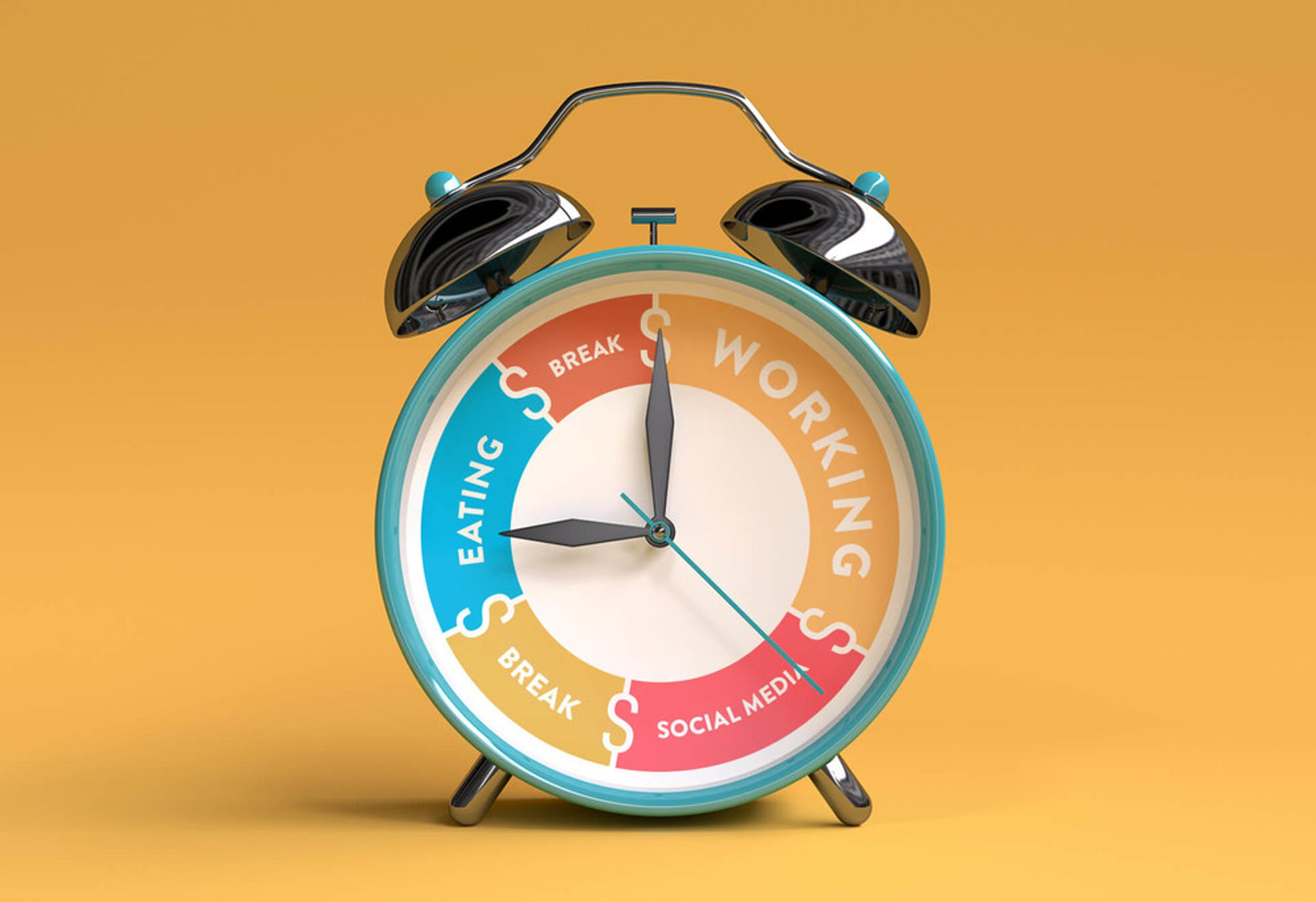 Clock demonstrates how to focus and prioritize your time between working, social media, breaks, and eating