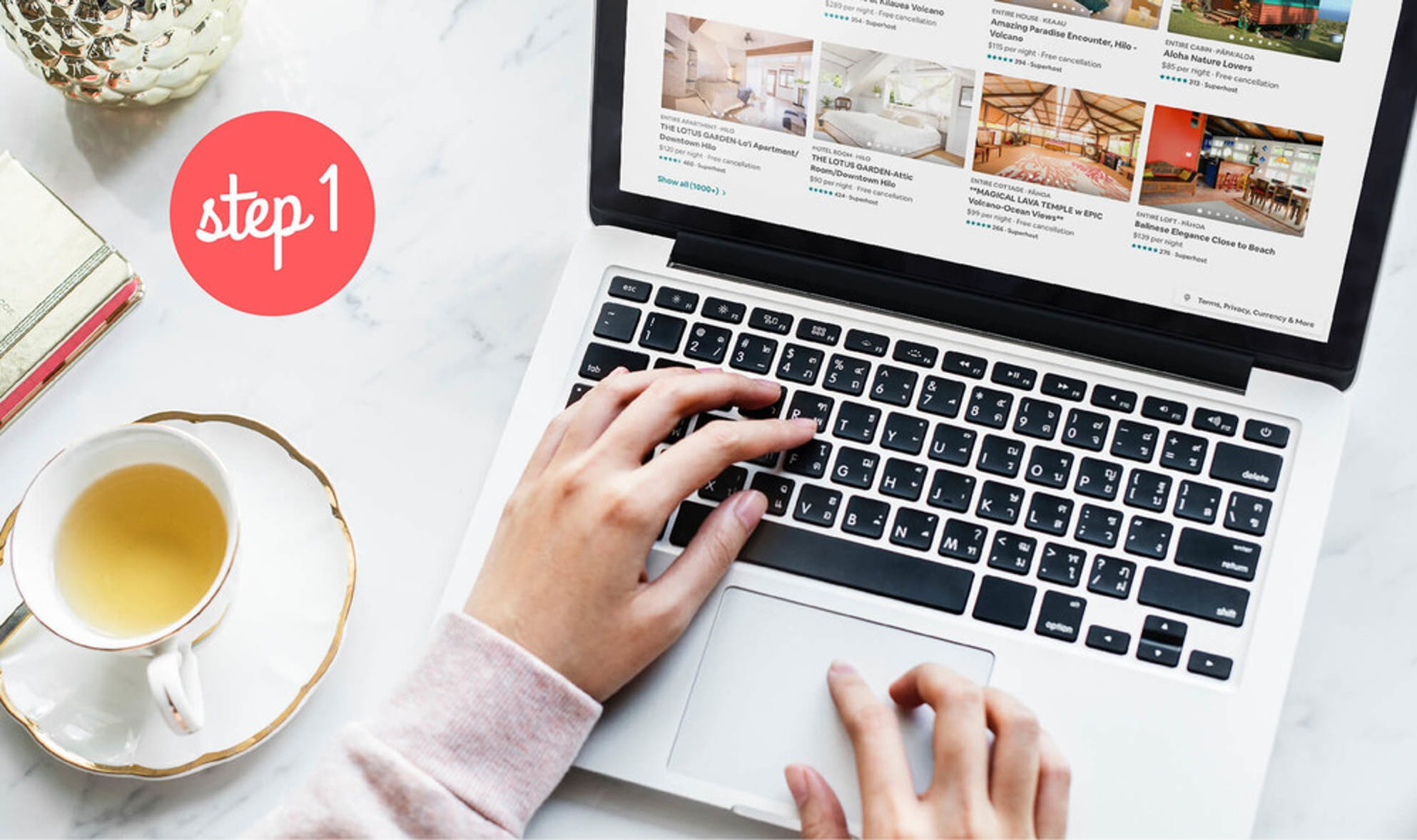 Woman calculating the value of her property on airbnb.com