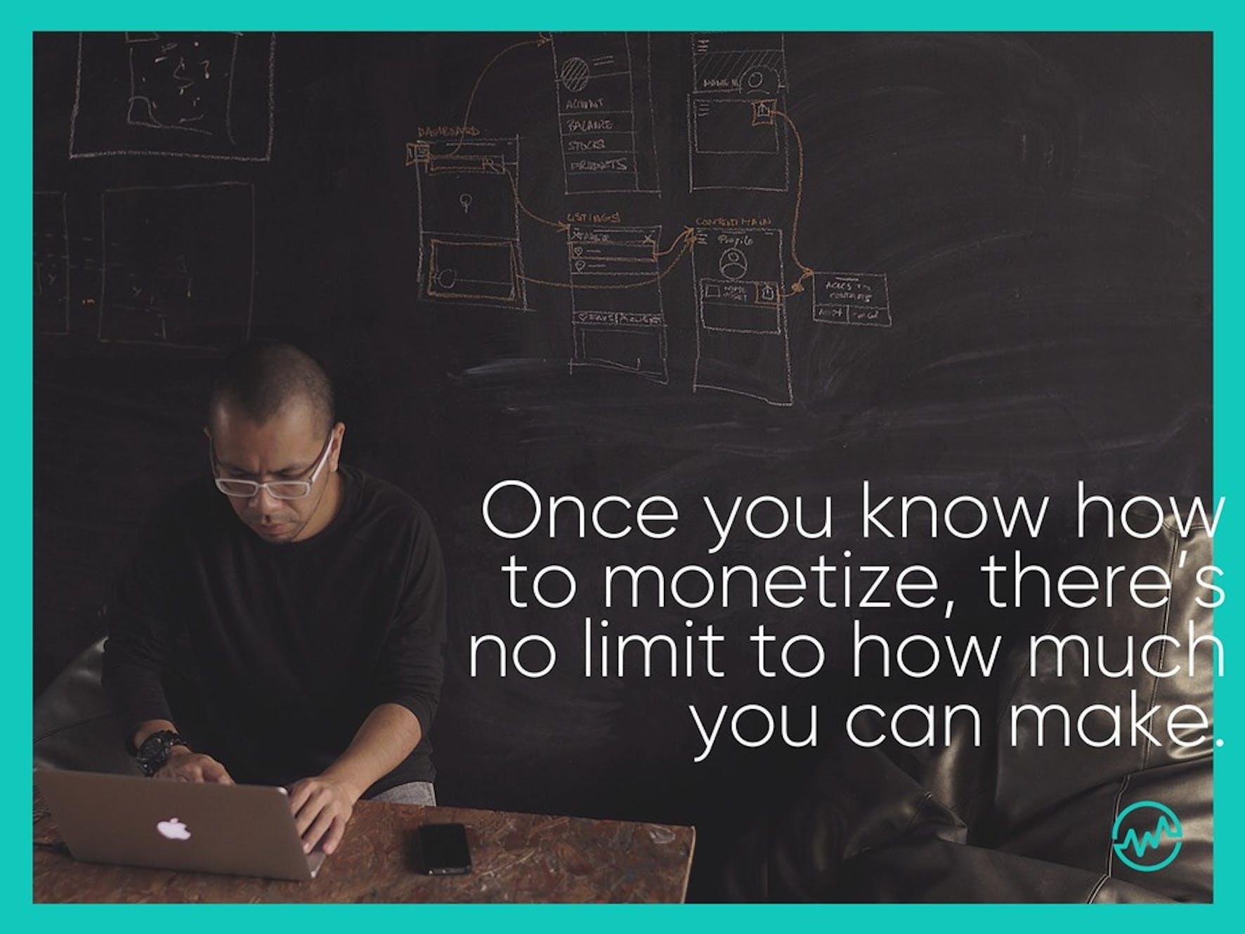 An entrepreneur monetizing a website