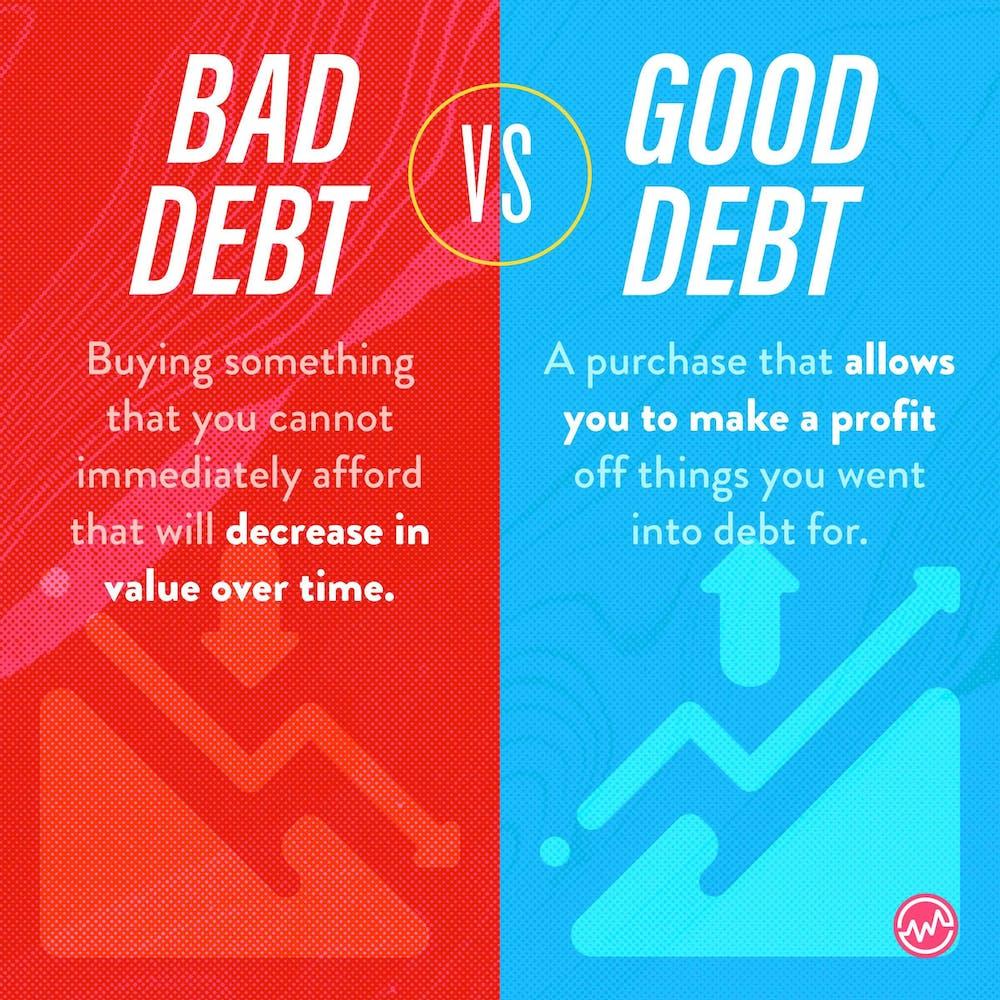Bad debt versus good debt when discussing investing for teens
