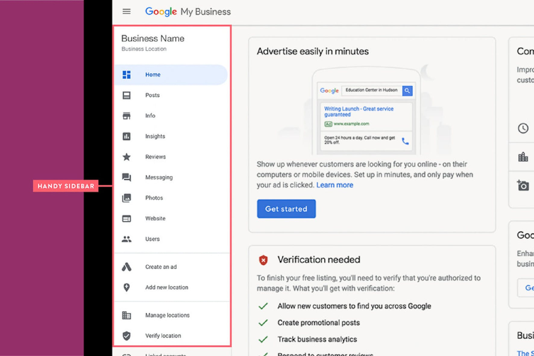 google my business handy sidebar screenshot