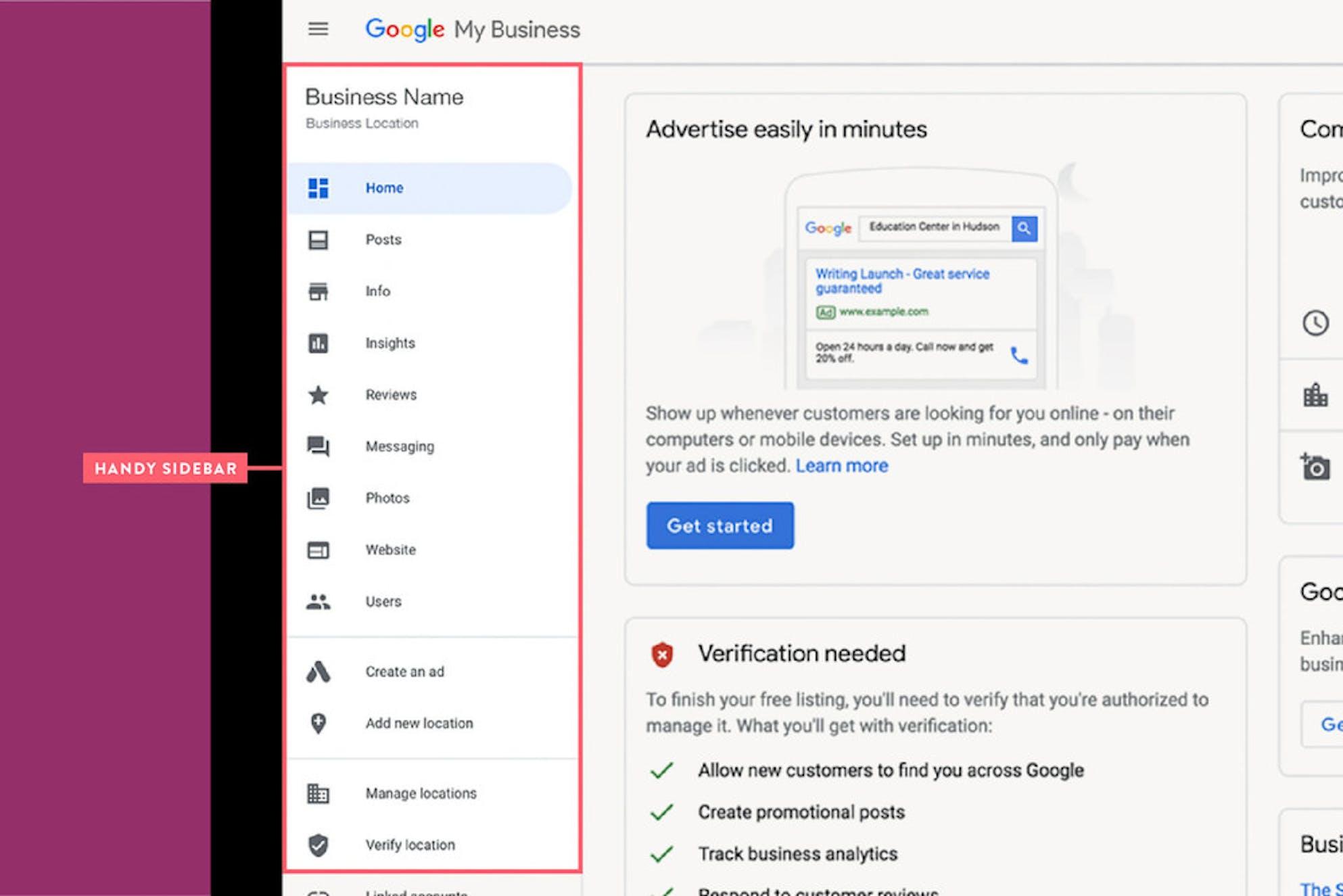 google my business handy sidebar screenshot