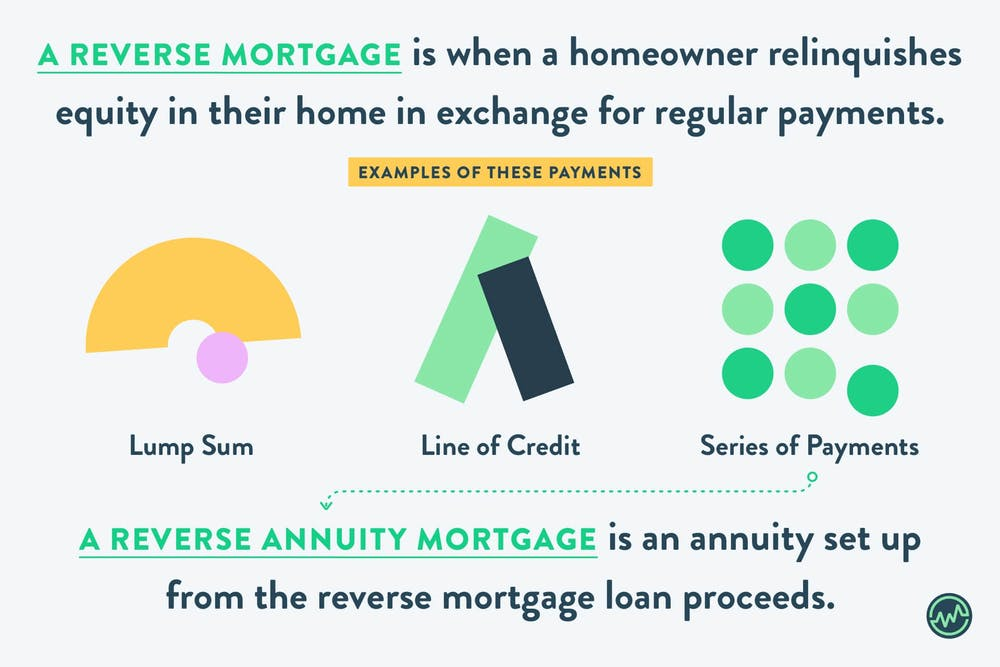 A reverse mortgage is when a homeowner relinquishes equity in their home in exchange for regular payments.  This can be in the form of a lump sum, a line of credit that can be drawn on at the borrower's optionor in a series of regular payments, called a reverse annuity mortgage.
