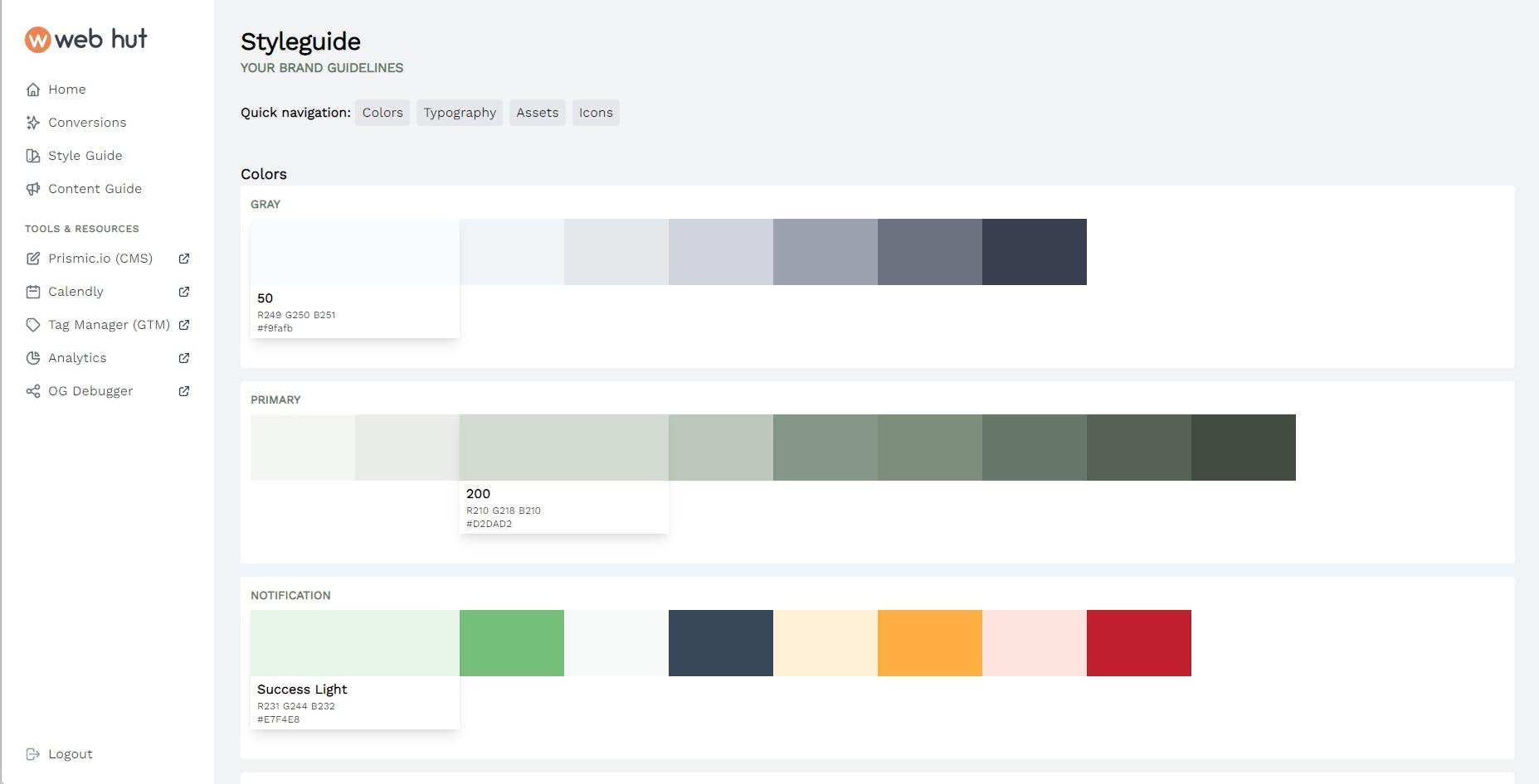 Voorbeeld van een web hut styleguide