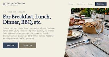 Screenshot of privatechefbonaire.com