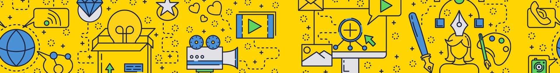 Schéma représentatif du digital avec des caméras, des icons wifi, des ordinateurs, des boutons play