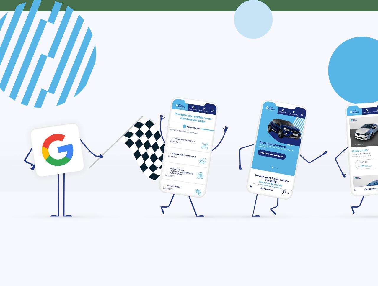 Google en personnage avec 3 portables à côté sur une ligne de départ de course