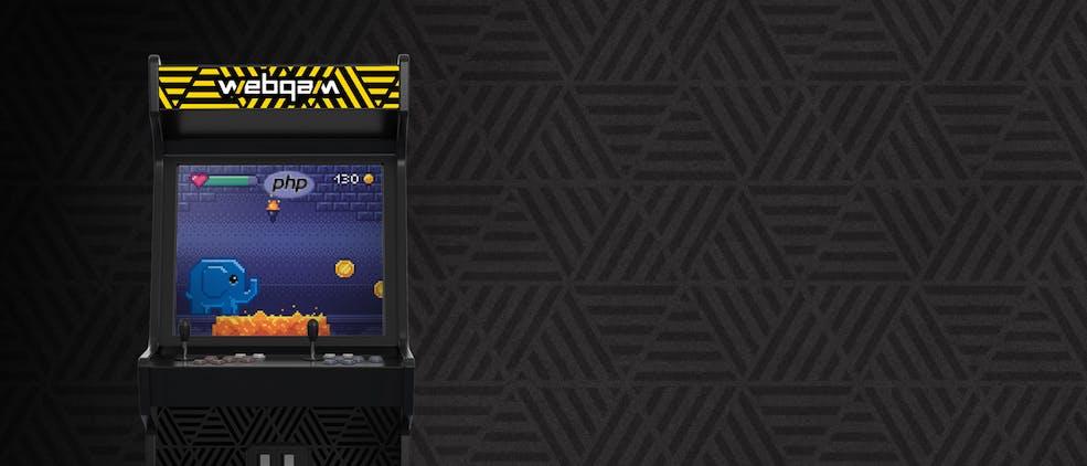 Borne d'arcade de jeu vidéo des années 80. Logo Webqam et elephant PHP dans un jeu de plateforme