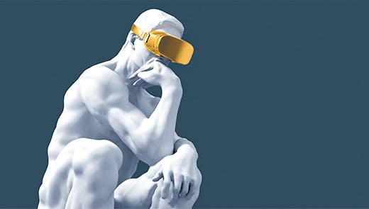 Représentation du Penseur de Rodin affublé d'un casque de Réalité Virtuelle