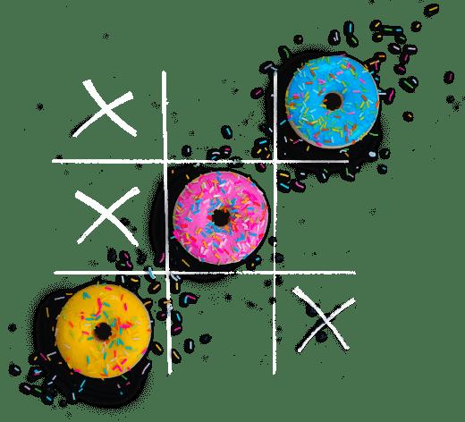 Jeu du morpion où les ronds sont des donuts qui trace une ligne dans la diagonale