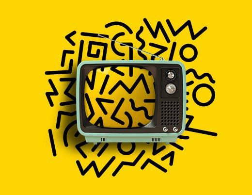 Dessin d'un vieux poste de télévision des années 70 devant un fond jaune texturé
