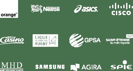 Logos des entreprises suivantes, tous clients de l'agence digitale Webqam : Orange, Nestlé, Cisco, Groupe Casino, Ligue Nationale de Rugby, GPSA, Saint-Etienne Métropole, MHD, Samsung, Agira, SPIE