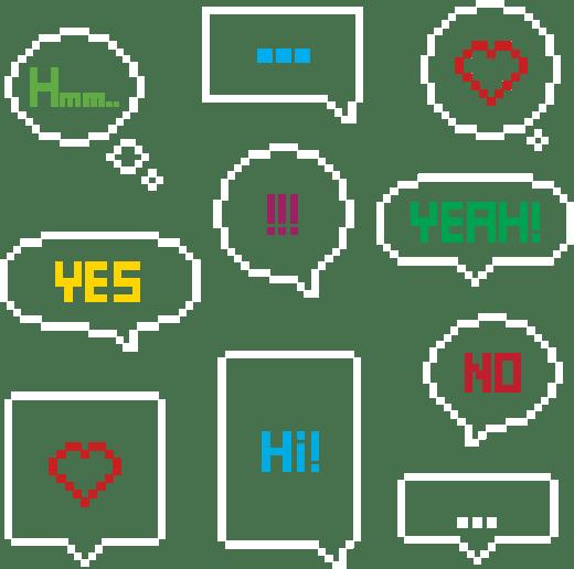 Plusieurs fenêtres de discussions affichent des mots des points de suspension ou des coeurs