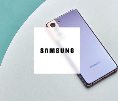 Logo Samsung avec portable en fond