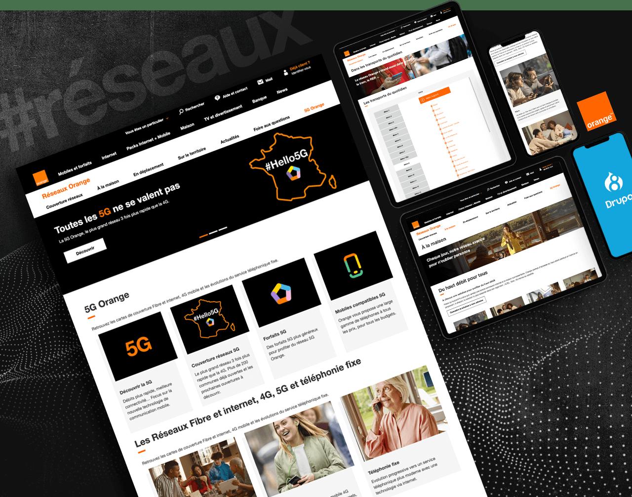 Extraits su site internet Orange Réseaux déclinés aux formats desktop, tablette et mobile