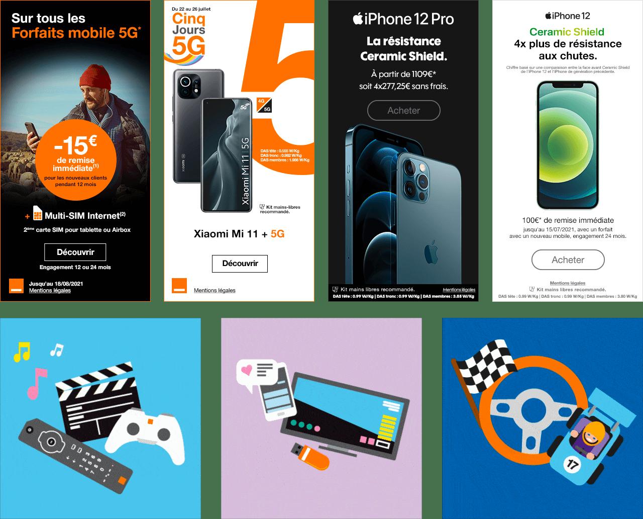 4 bannières publicitaire mettant en avant les offres de l'opérateur Orange En dessous : 3 images représentant des télécommandes, des manettes de jeux vidéos, des smartphones et une voiture de sport