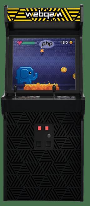 Borne d'arcade de jeux vidéo des années 80. Logo Webqam et Elephant Php dans un jeu de plateforme