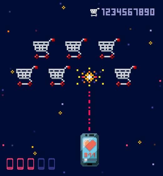 Dans le style de space invaders, un smartphone tire sur des caddies