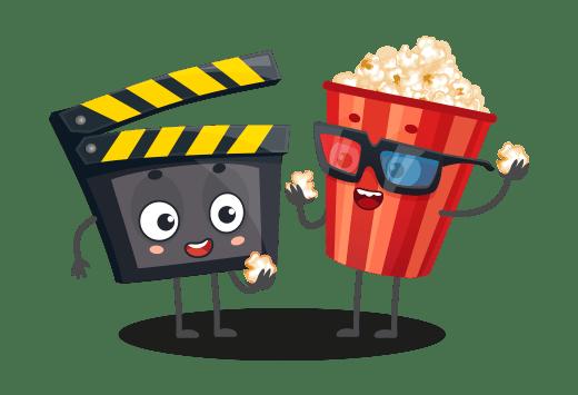 Dessin d'un clap de cinéma et d'un paquet de popcorn personnifiés