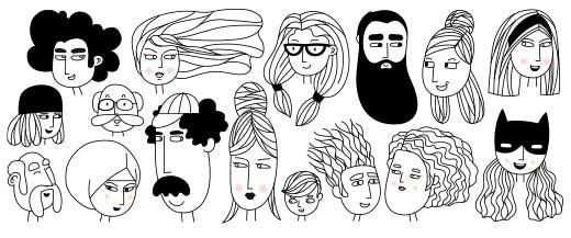 Dessin de plusieurs visages illustrant la variété des personae