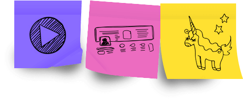 3 Post-it avec des dessins de picto de lecture vidéo, croquis de page web, dessin de licorne