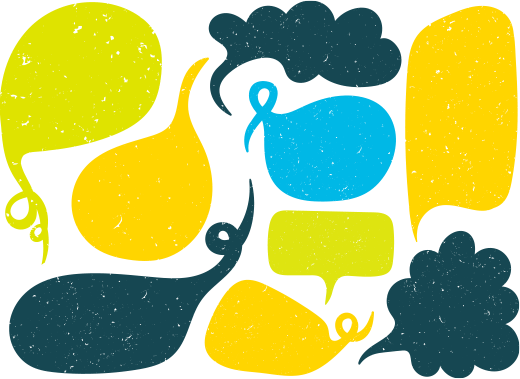 Dessin de plusieurs bulles de discussion symbolisant de nombreuses prises de parole