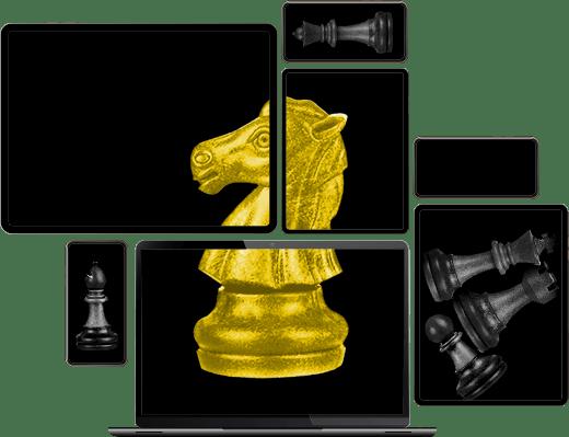 Plusieurs écrans de tablettes, smartphones et ordinateurs portables contiennent des images de pièces de jeu d'échecs