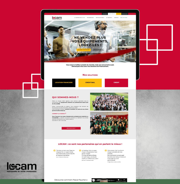 Extrait du site internet de Locam présenté dans une tablette