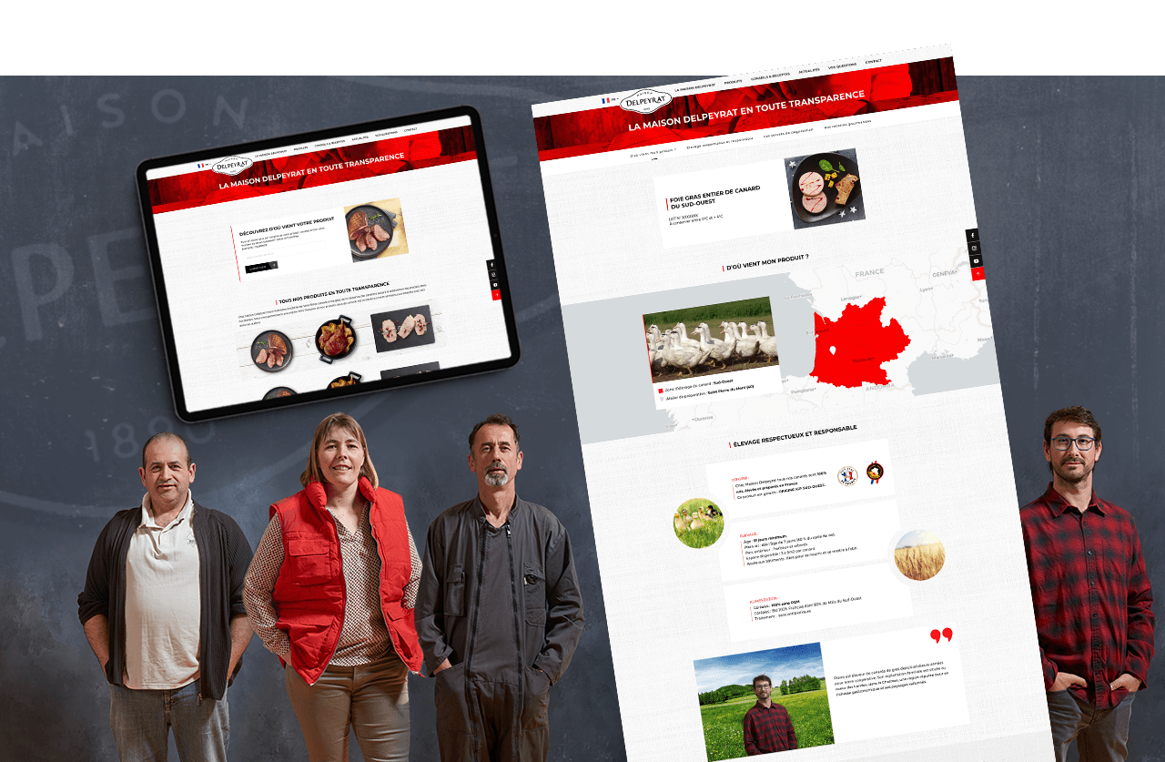 Portrait de producteurs de canards, présentés sur une des page internet du site de la marque Delpeyrat