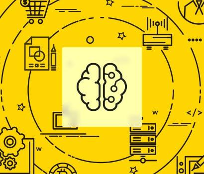 Cerveau en picto au centre avec des schémas en fond jaune