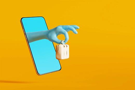 Représentation 3D d'une main offrant un sac à main en sortant de l'écran d'un smartphone