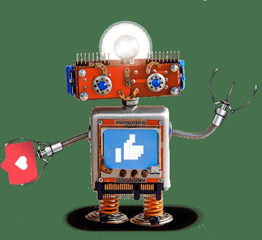 Représentation 3D d'un robot qui récolte des likes
