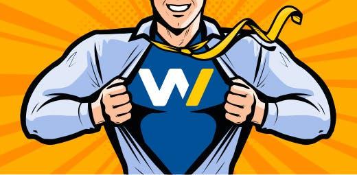 Dessin d'un homme arrachant sa chemise comme Superman. Le W de Webqam remplace le S de Superman